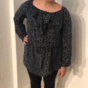 Rebecca Taylor silk tunic in cheetah print size 4